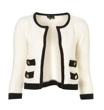 Topshop white cropped tweed
