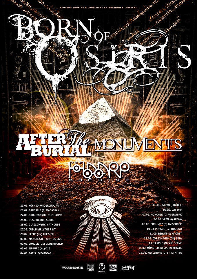 Poster for the Born of Osiris 2013 European Tour *NOT MY IMAGE. IMAGE COURTESY OF FACEBOOK*