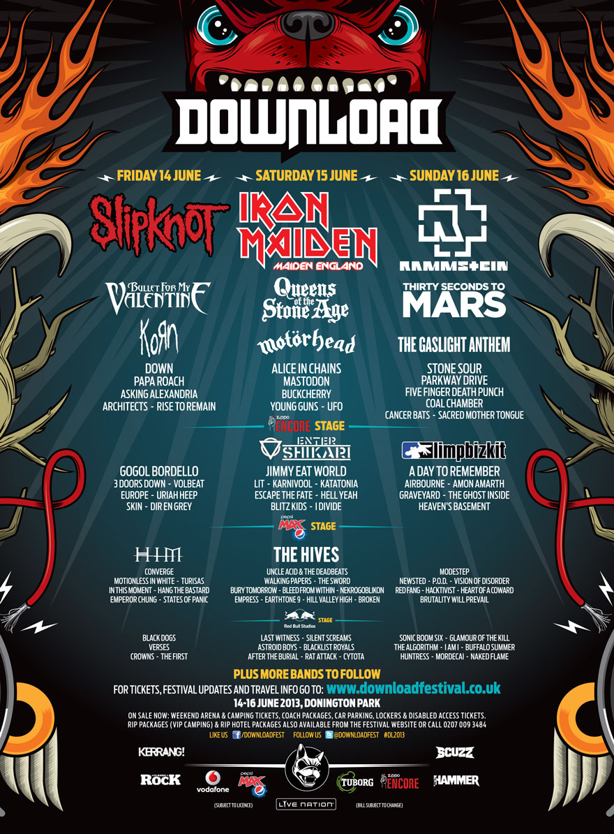 Download Festival stage and day splits