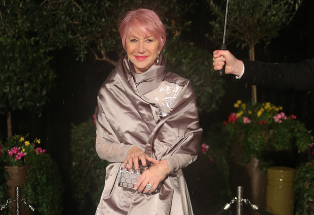 Dame Helen Mirren debuting her candy floss pink hair