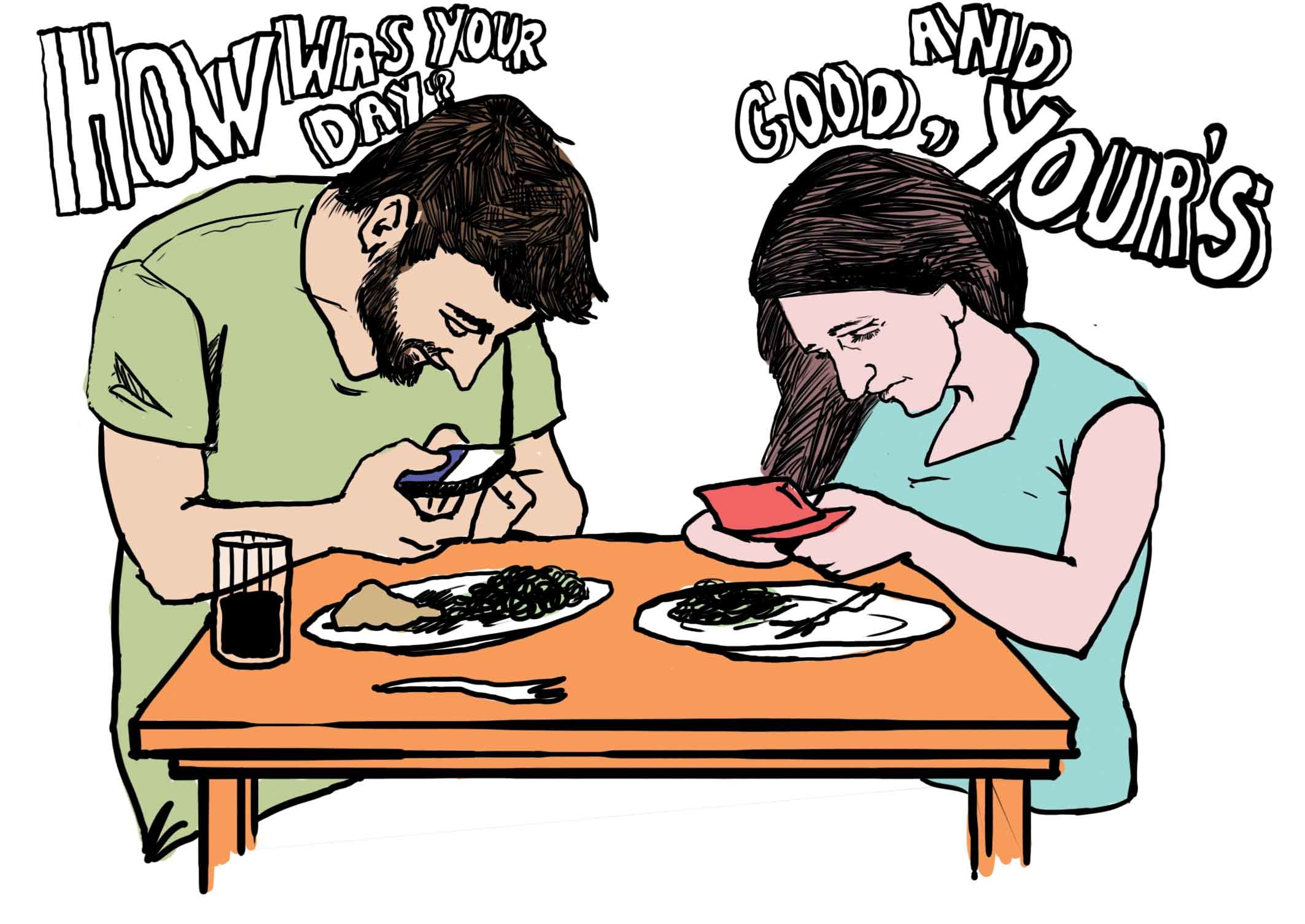 Texting at the table