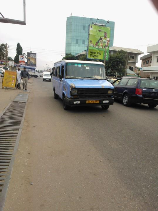 The only way to travel via public transport in Ghana, one of the deadly yet fun tro-tros on Oxford Street, Osu!