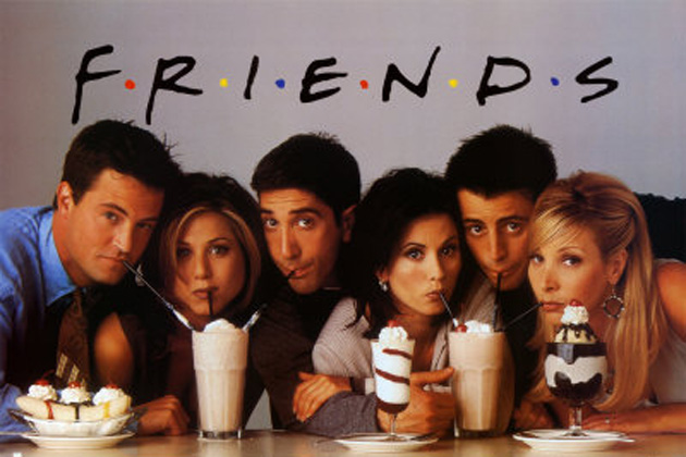 Characters of Friends sipping milkshake. How cute.
