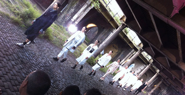 Alexander McQueen held a show in tunnels under CSM, showing off the diversity of mens fashion now.