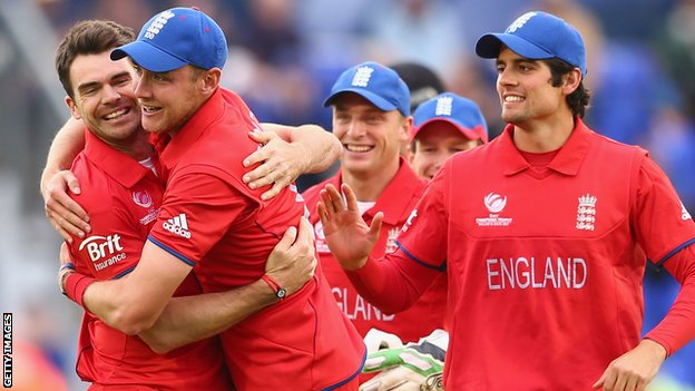 England celebrate their 10 run win over New Zealand In Cardiff to book their place in the Champions Trophy semi-final