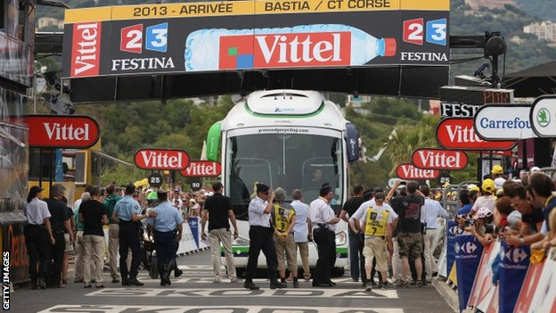 The Orica-GreenEDGE coach caused panic when it got wedged under the finish banner at the end of stage 1 of  the 2013 Tour de France.
