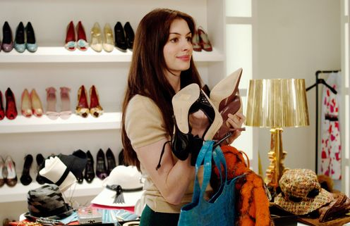 Anne Hathaway as long-suffering fashion assistant Andy Sachs in The Devil Wears Prada