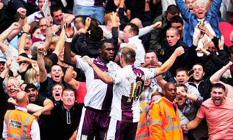 Christian Benteke celebrates during Aston Villa's shock win at Arsenal