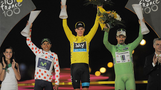 Hands up if you can win clean: Chris Froome, flanked by Nairo Quintana and Peter Sagan stand on the podium in Paris