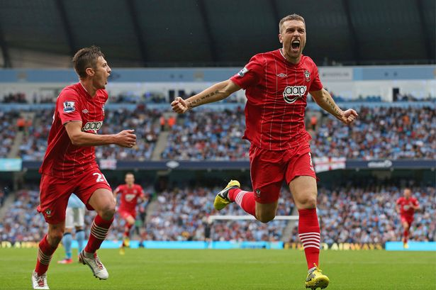 Rickie Lambert celebrating for Southampton.