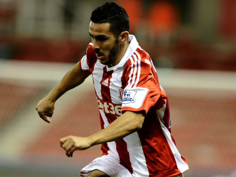 Ossama Assaidi got off the mark for Stoke in the first half