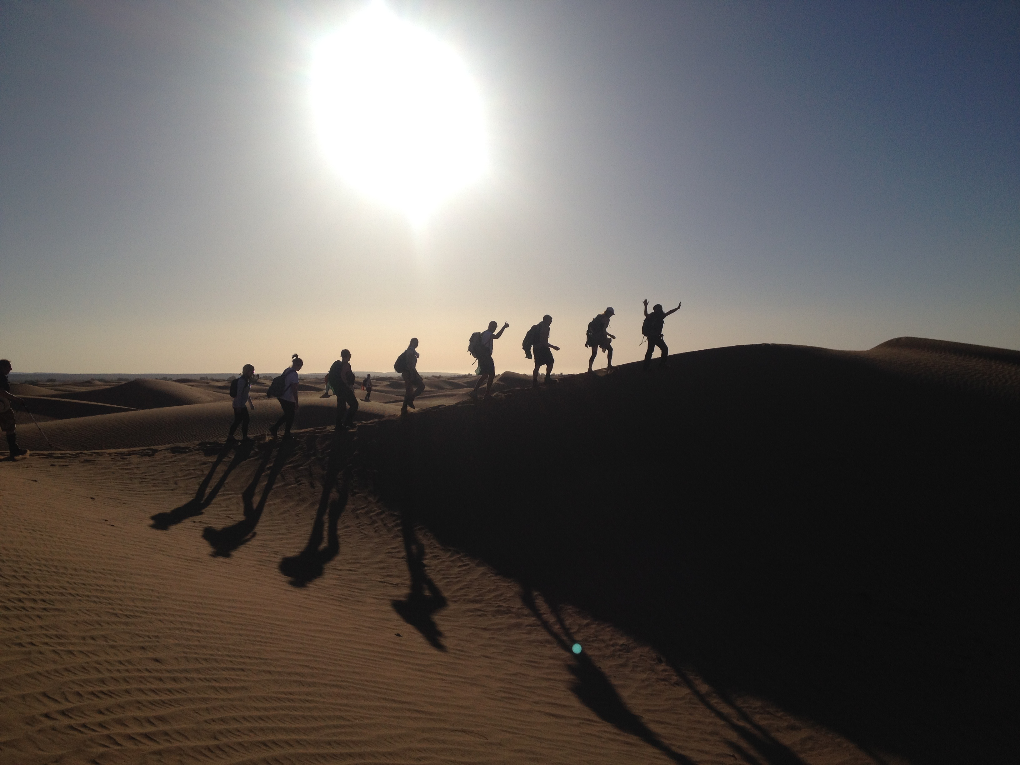 The team trekking across the dunes of the Sahara