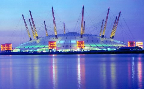 The O2 Arena at night
