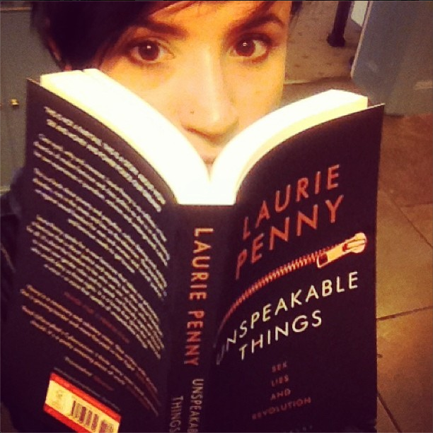 "Laurie Penny with her latest book ""Unspeakable Things"""