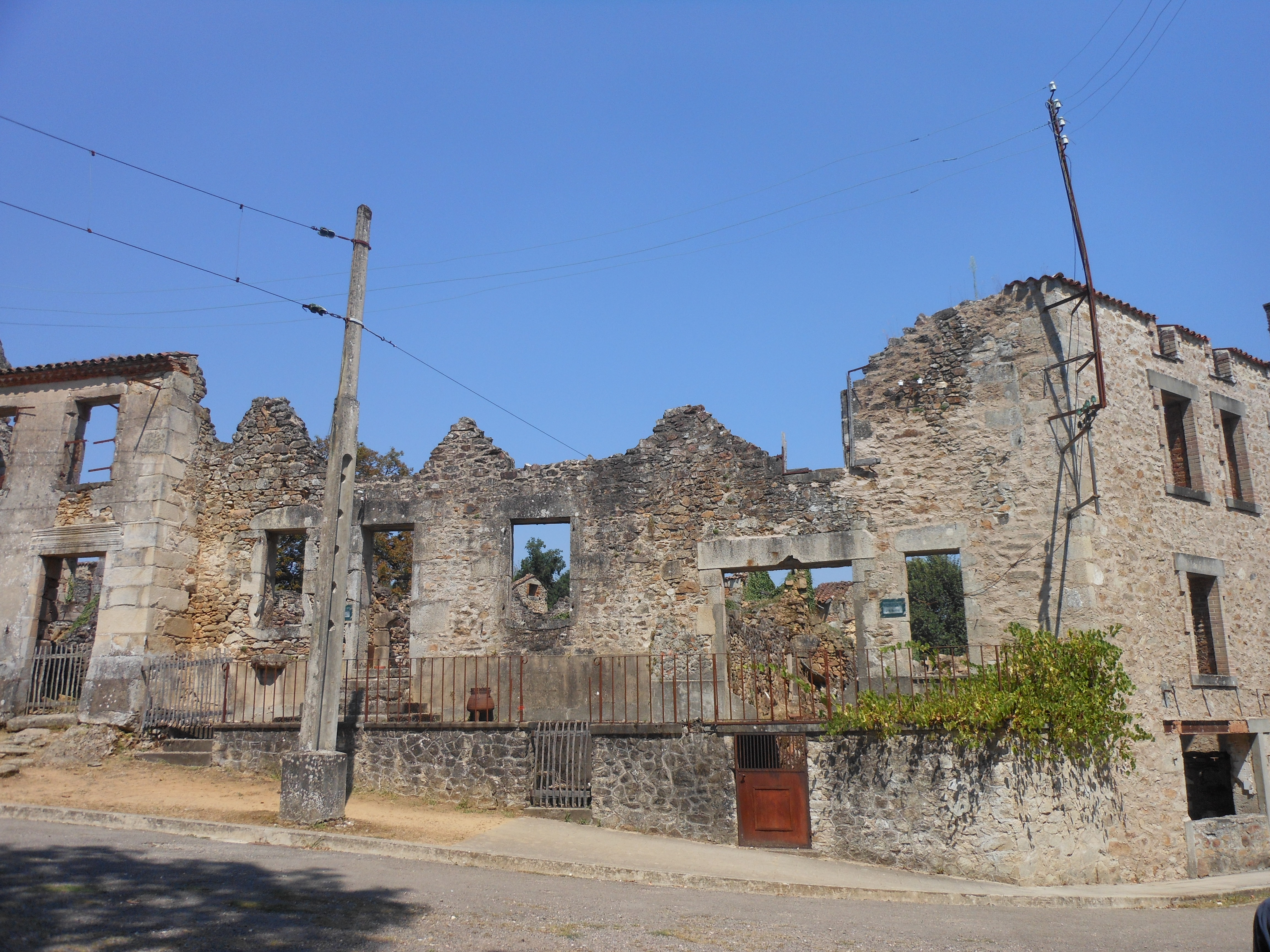 The ruins of Oradour-sur-Glane damaged by Nazi flames