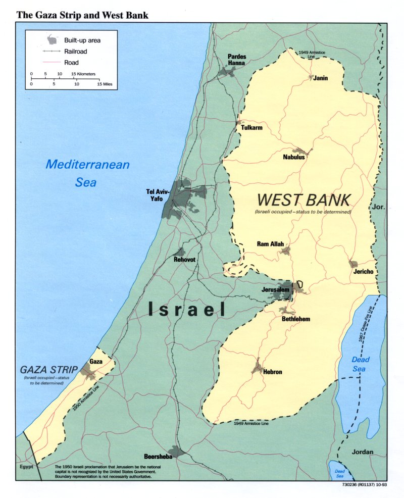Map of Israel and Palestinian borders.