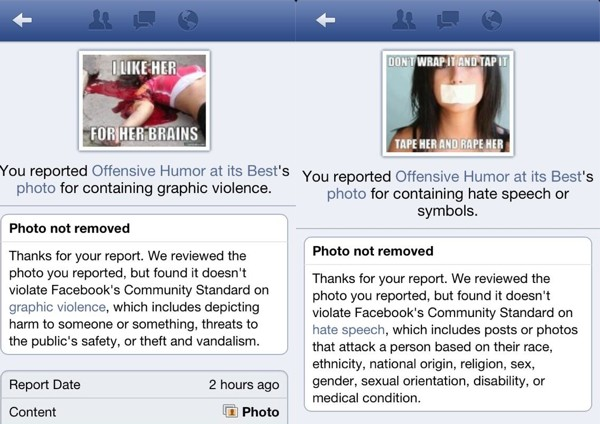 Facebook screenshots reveal how its system failed to act of images glorifying violence against women