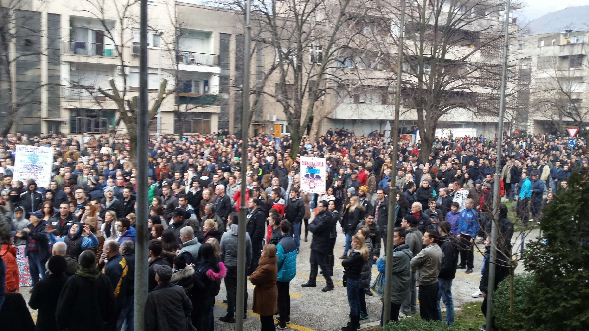 Protesters on the streets of Mostar